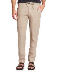 Armani Linen Drawstring Pants - Lyst