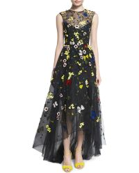 Monique Lhuillier | Floral-embellished High-low Gown | Lyst