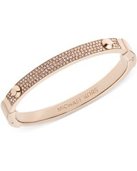 Michael Kors Rose Gold-Tone Pave Hinge Bangle Bracelet - Lyst