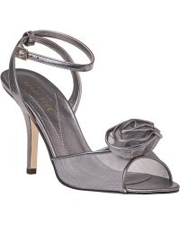 Kate Spade Cam Sandal Pewter Leather - Lyst