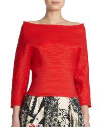 Donna Karan New York Textured Boatneck Blouse - Lyst