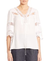 Nanette Lepore | Wind Song Lace-inset Top | Lyst