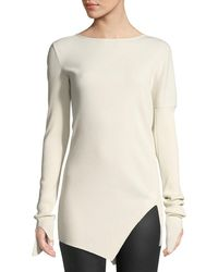 Helmut Lang - Asymmetric Ribbed Cotton Top - Lyst