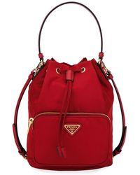 72544acd963f Prada Tessuto Impunturato Quilted Bucket Bag - Lyst