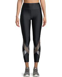 Lanston - Yuri High-waist Metallic Cross Cropped Leggings - Lyst