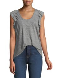 Current/Elliott - The Cadence Scoop-neck Racerback Tank With Ruffle Sleeves - Lyst