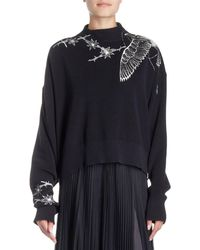 Sacai - Floral-embroidered Mock-neck Pullover Jumper - Lyst