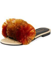 Avec Moderation - Bora Bora Pompom-embellished Slide Sandals - Lyst