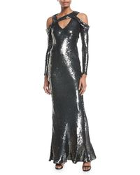Jason Wu - Cold-shoulder Sequined Silk Chiffon Body-con Evening Gown - Lyst