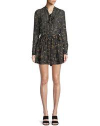 Zimmermann - Long-sleeve Floral-print Playsuit W/ Lace Trim - Lyst