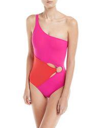 Diane von Furstenberg - O-ring One-shoulder Colorblocked One-piece Swimsuit - Lyst