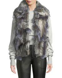 Adrienne Landau - Short Patchwork Fur Vest - Lyst