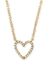 EF Collection - 14k Diamond Open Heart Necklace - Lyst