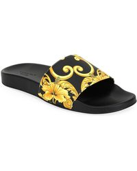 b80f1fd1fc48 Lyst - Versace Men s Graphic-print Leather Shower Slide Sandals in ...