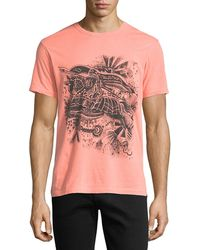 Burberry - Scribble Graphic Neon T-shirt - Lyst