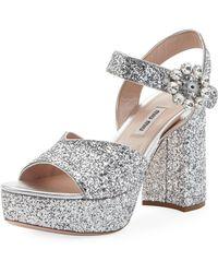 Miu Miu - Glittered Platform Block-heel Sandals - Lyst