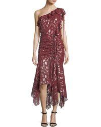 Veronica Beard - Leighton One-shoulder Metallic Silk Dress - Lyst