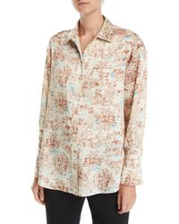 Elizabeth and James - Turner Toile Silk Button-down Shirt With Pocket - Lyst