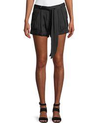 Halston - Solid Satin Tie-waist Shorts - Lyst