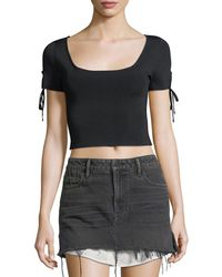 T By Alexander Wang - Full-needle Rib Cropped Sweater W/ Tie Detail - Lyst