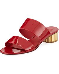 Ferragamo - Belluno Two-band Patent Slide Sandals With Flower Heel - Lyst