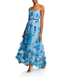 f8debbf6 Marchesa notte Embroidered Gown W/ Metallic Lace Trim in Blue - Lyst