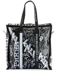 24c9c830a Balenciaga - Men's Bazar Medium Graffiti Leather Shopper Tote Bag - Lyst