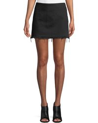 T By Alexander Wang - Frayed Cotton Twill Mini Skirt - Lyst