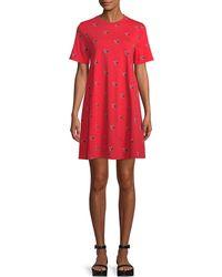 McQ - Babydoll Bird-print Tee Dress - Lyst