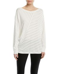 Lafayette 148 New York - Matte Crepe Directional Striped Jumper - Lyst