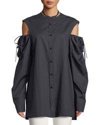 JOSEPH - Ripley Chintz Cotton Shirred Cold-shoulder Shirt - Lyst