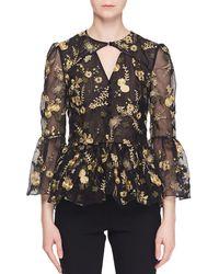 Erdem - Demetria Bell-sleeve Floral-embroidered Silk Organza Blouse - Lyst