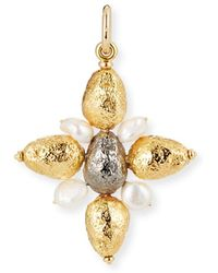 Grazia And Marica Vozza - Yellow Golden Cross Nugget Charm With Pearls - Lyst
