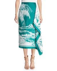Tibi - Silk Asymmetric Printed Skirt - Lyst