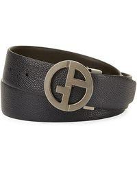 Giorgio Armani - Logo-buckle Vitello Belt - Lyst