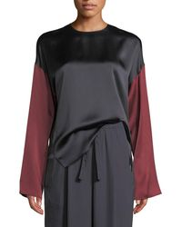 Vince - Colorblock Silk Long-sleeve Blouse - Lyst