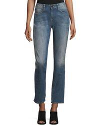 Brockenbow - Stardust Beaded Straight-leg Cropped Boyfriend Jeans - Lyst