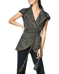 Ramy Brook - Emersyn Belted Tweed V-neck Vest - Lyst
