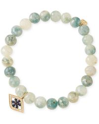 Sydney Evan | 8mm Beaded Corundum Bracelet With Sapphire & Diamond Flower Eye Charm | Lyst
