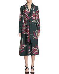 Diane von Furstenberg - Von Floral Silk Tie-front Midi Dress - Lyst