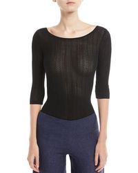 Theory | Scoop-neck 3/4-sleeve Prosecco Knit Bodysuit | Lyst