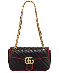 b33a4938f5bf Gucci GG Marmont Mini Leather Chain Bag in Pink - Lyst