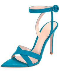 Gianvito Rossi - High-heel Suede Crisscross Ankle-strap Sandals - Lyst