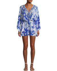 Camilla - Blouson-sleeve Printed Silk Embellished Romper - Lyst