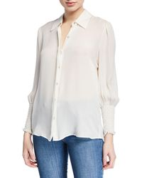 L'Agence - Lucien Smocked-cuff Collared Blouse - Lyst