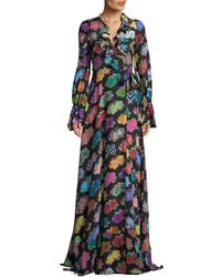 Libertine - Punk Rock Floral-print Long-sleeve Silk Wrap Dress - Lyst