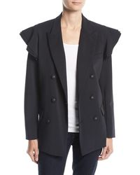 Opening Ceremony - Tailored Double-breasted Ruffle Blazer - Lyst