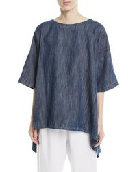 Eskandar - Bateau-neck High-low Denim Cotton T-shirt - Lyst
