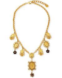 Dolce & Gabbana Medallion & Flower Necklace - Metallic