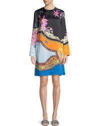 Etro - Scarf-print Long-sleeve Shift Dress - Lyst